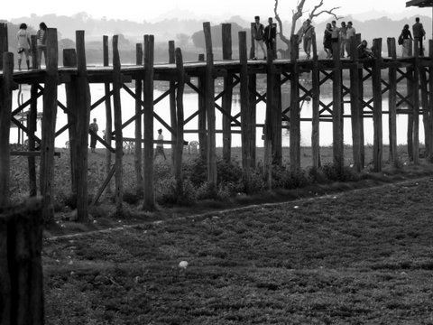 U-bein Bridge Myanmar in black and white