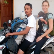On a motorcycle backpacking Myanmar baby