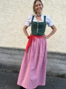 Nina Buschmann in Dirndl, Learn German via Skype